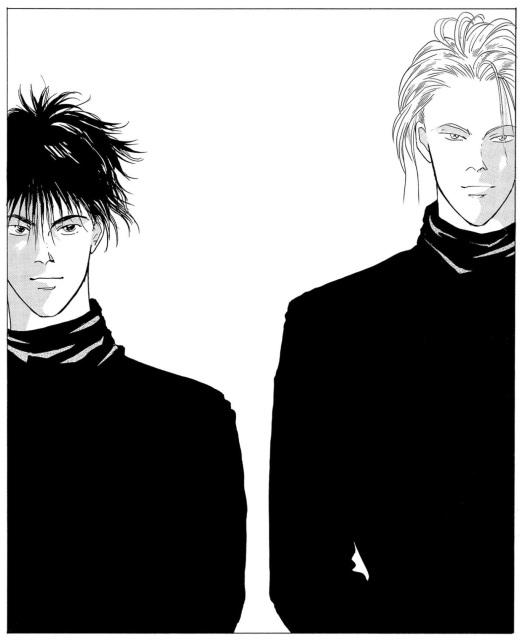 ash and eiji posing in black