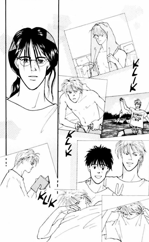 eiji looking at ash's pictures