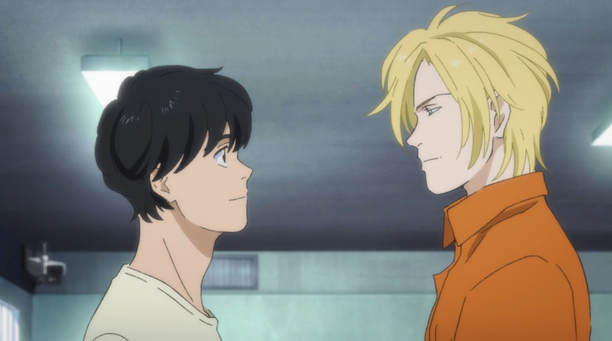 ash and eiji looking at each other