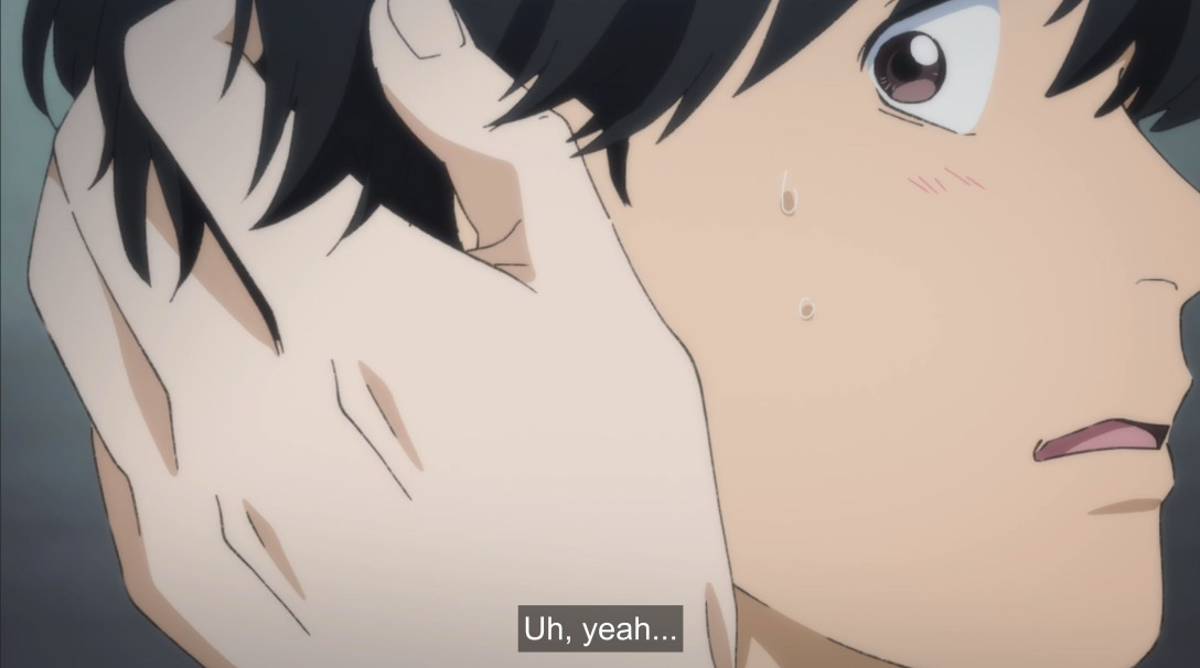 blushing eiji as ash touches him