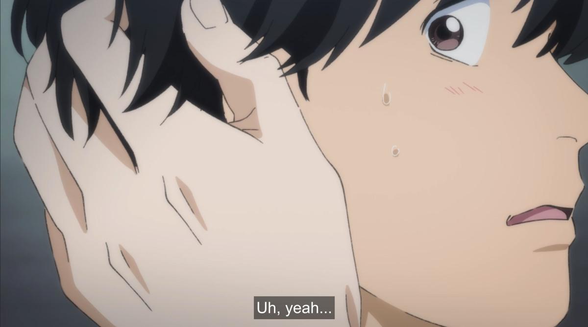 blushing eiji as ash touches him