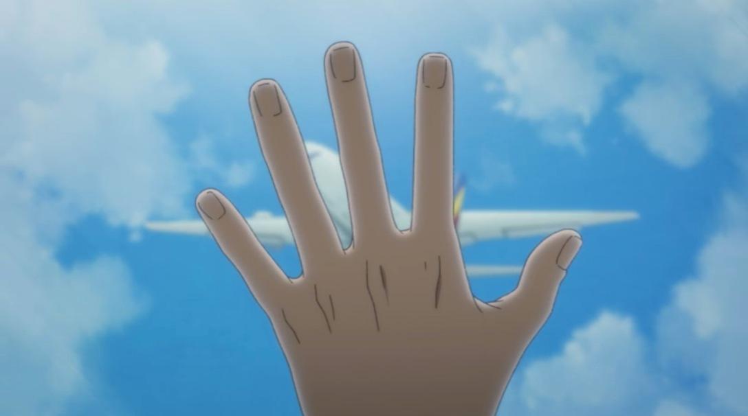 eiji's hand covering plane