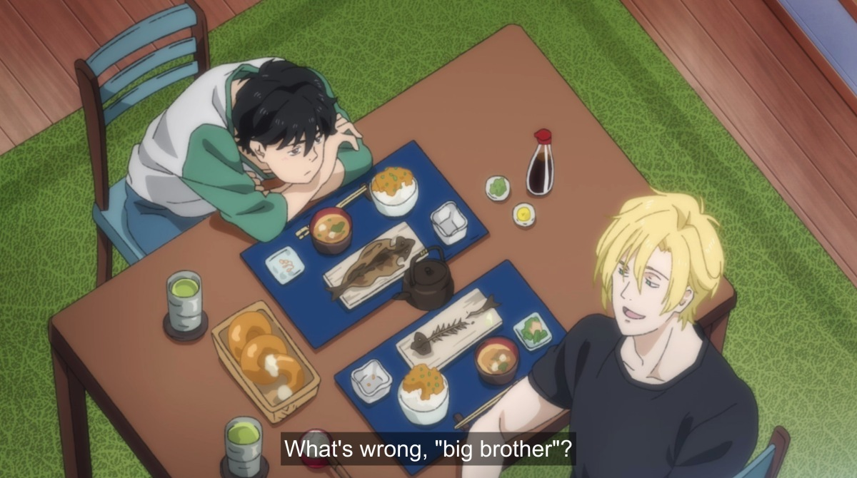 ash and eiji with japanese food