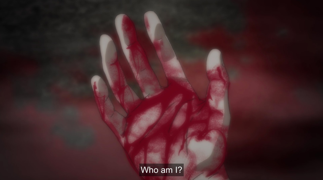 ash looks at metaphorical bloody hand