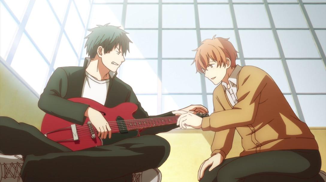 mafuyu touching the guitar
