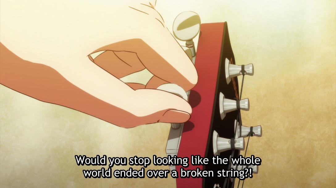 u says stop looking like the world ended over a broken string